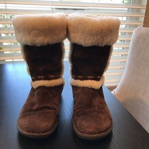 UGG Calf High Chocolate Brown Suede w/ Sherpa Trim